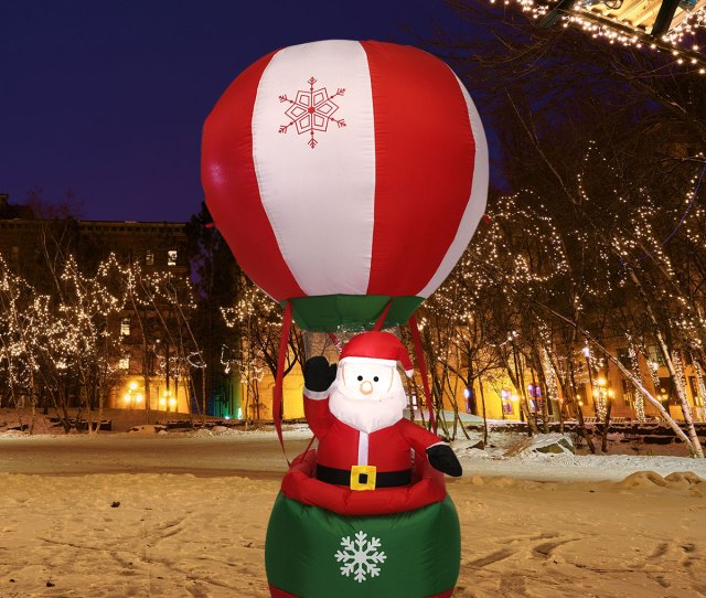 Gymax Ft Inflatable Santa Claus Hot Air Balloon Lighted Outdoor Indoor Christmas Decor