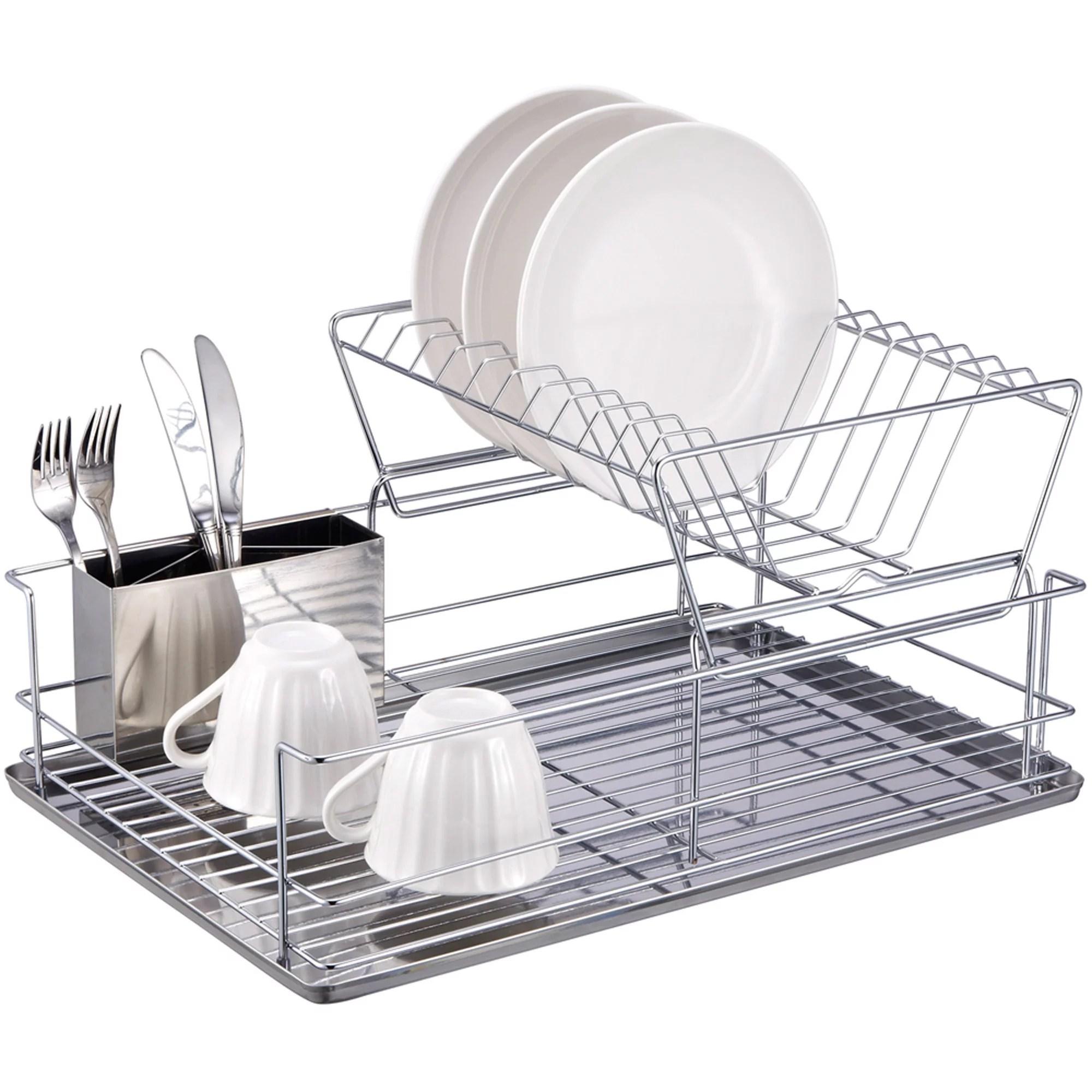 home basics 2 tier dish rack chrome stainless steel