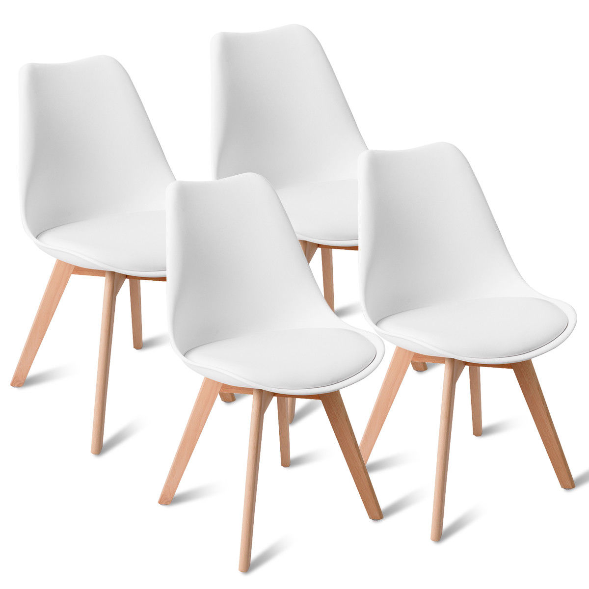 Gymax Set Of 4 Mid Century Modern Style Dining Side Chair Upholstered Seat Wood Legs Walmart Com Walmart Com