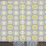 Grey And Yellow Curtains 2 Panels Set Pale Grey Backdrop With Ethnic Inspired Flowers Ivy Image Window Drapes For Living Room Bedroom 108w X 63l Inches Mustard Yellow And White By Ambesonne