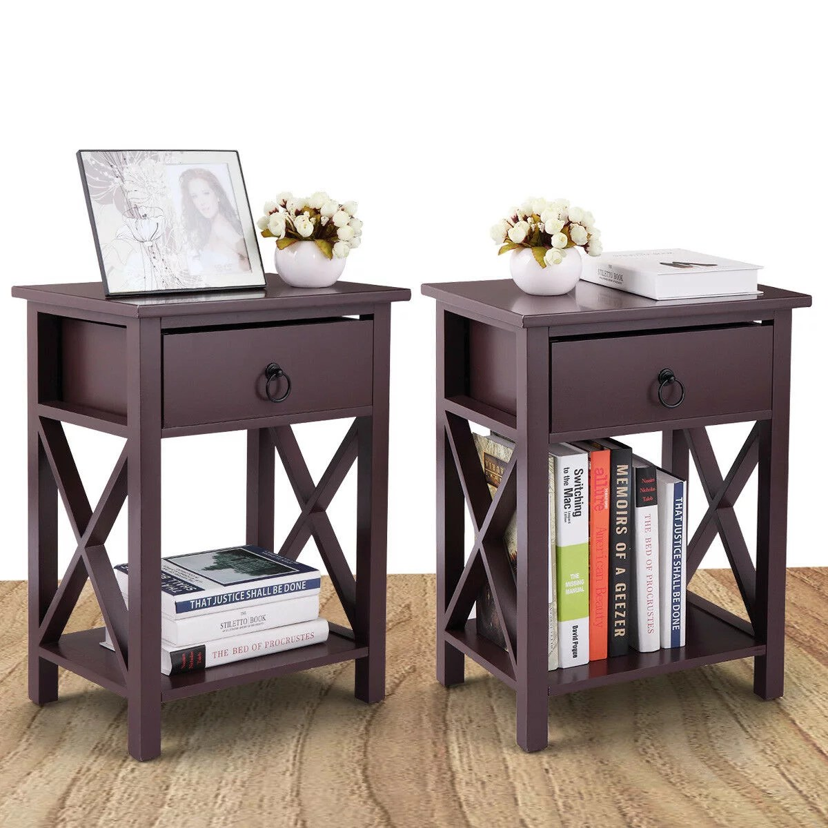 Topcobe Night Stand Set Of 2 Nightstand Organizer W Storage Drawer End Table Storage Cabinet For Bedroom Living Room Dining Room Furniture Brown