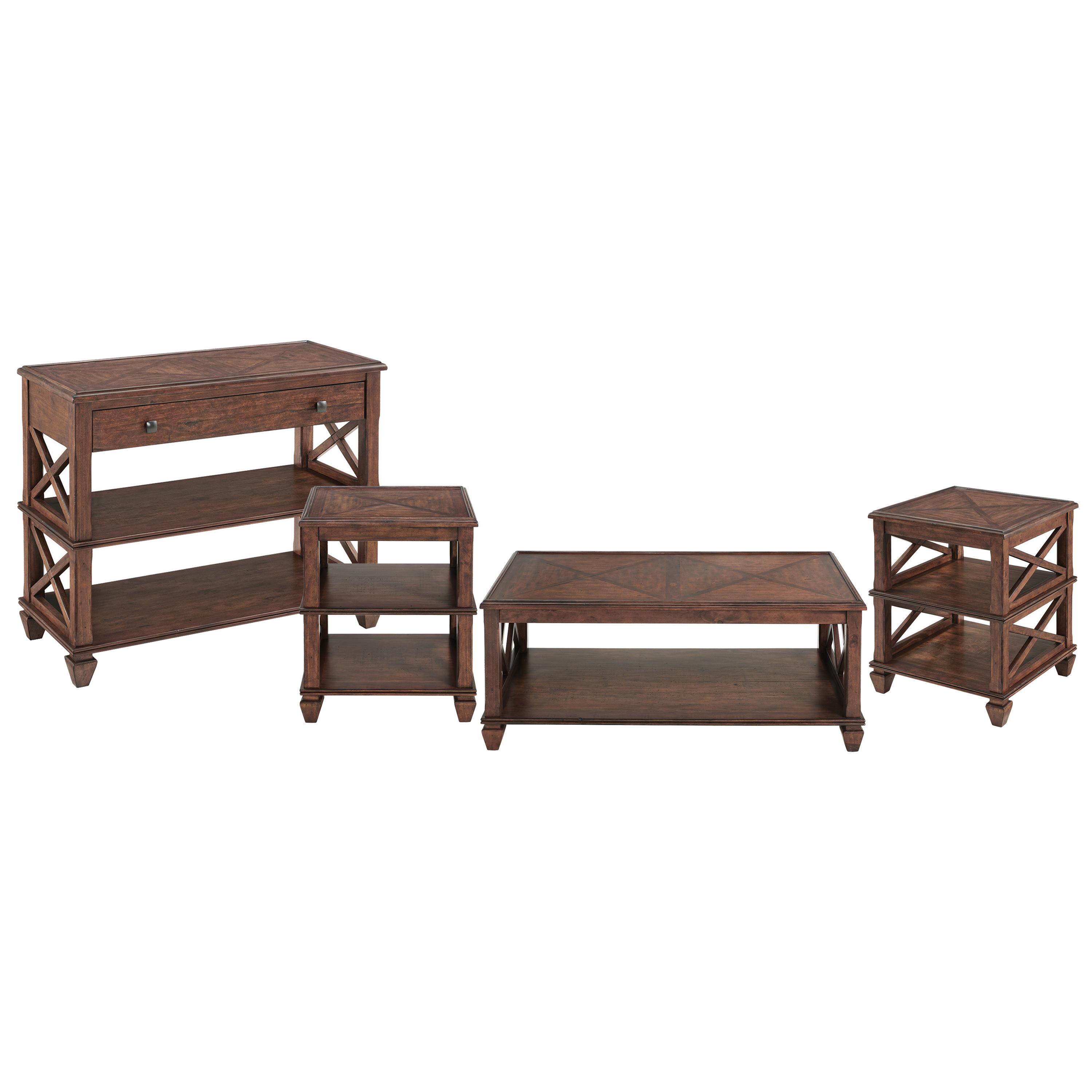 bolton furniture stockbridge 4 piece wood living room set with 45 l coffee table two square 2 shelf end tables and tv sofa console table