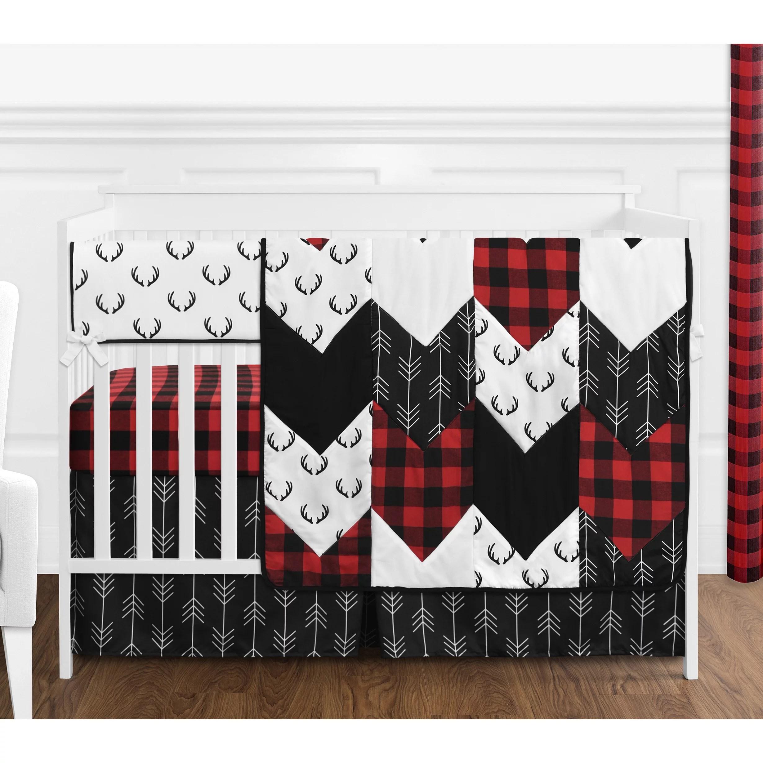 woodland buffalo plaid baby boy crib bedding set 5 pieces red and black rustic country deer lumberjack arrow nursery by sweet jojo designs
