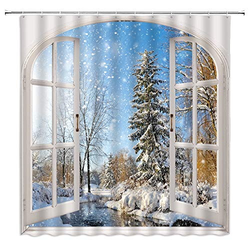 jingjiji winter shower curtain snow scene snowflake frozen world forest tree pine natural scenery wooden window bathroom decoration curtains polyester