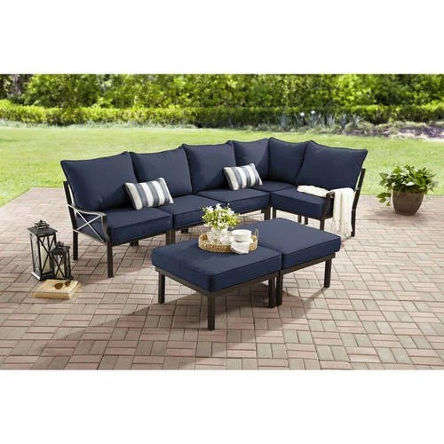 mainstays sandhill 7 piece metal patio furniture sectional set with cushions and pillows