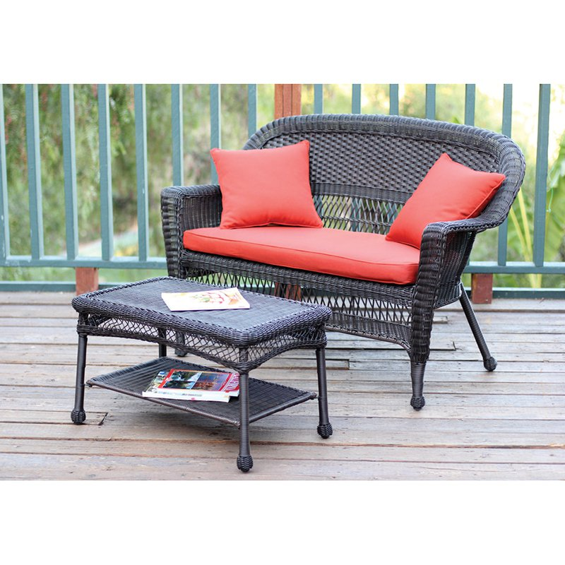 jeco wicker patio loveseat and coffee table set