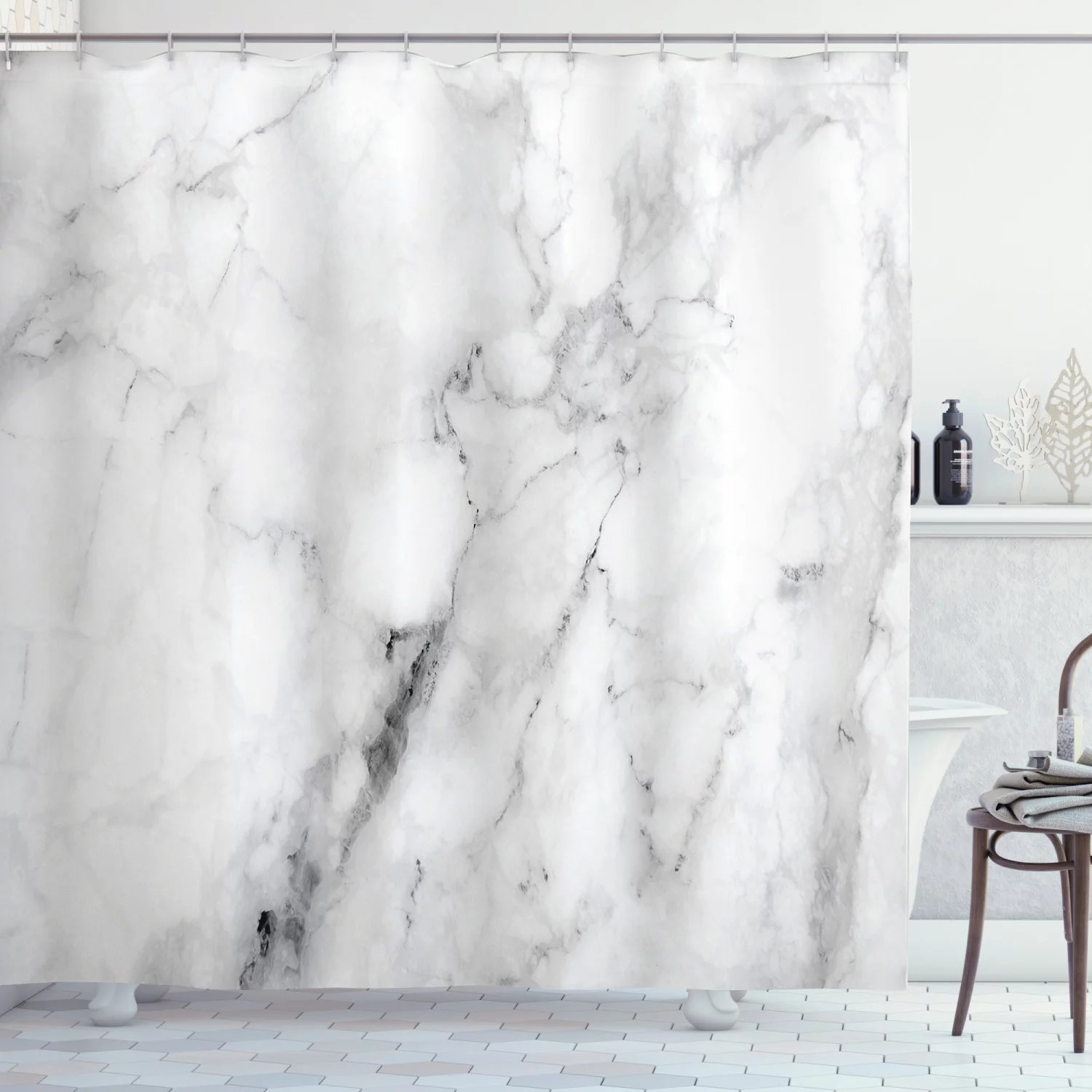 marble shower curtain marble surface pattern with cracked lines and hazy stripes artistic display fabric bathroom set with hooks grey dust white
