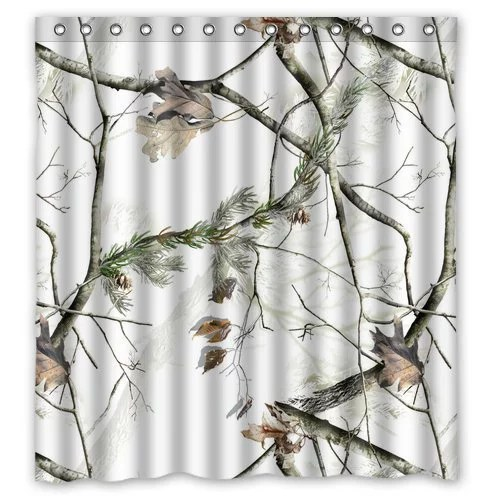 greendecor white realtree camo waterproof shower curtain set with hooks bathroom accessories size 66x72 inches walmart com