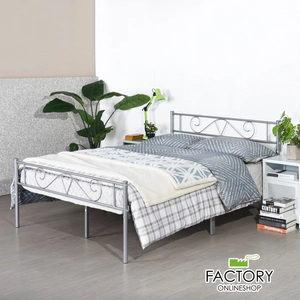 geniqua twin full queen metal bed frame platform foundation headboard footboard bedroom