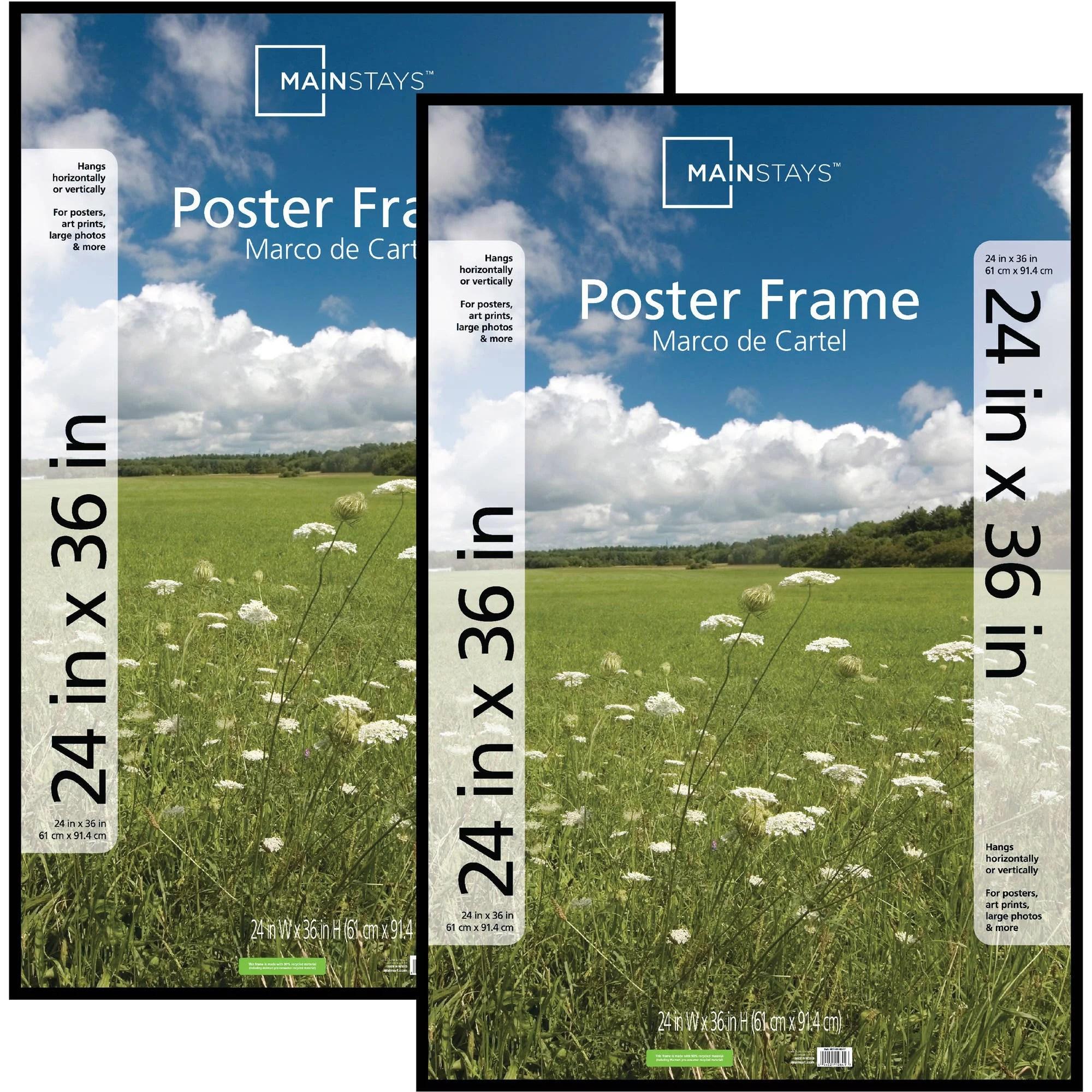 mainstays 24x36 basic poster picture frame black set of 2 walmart com