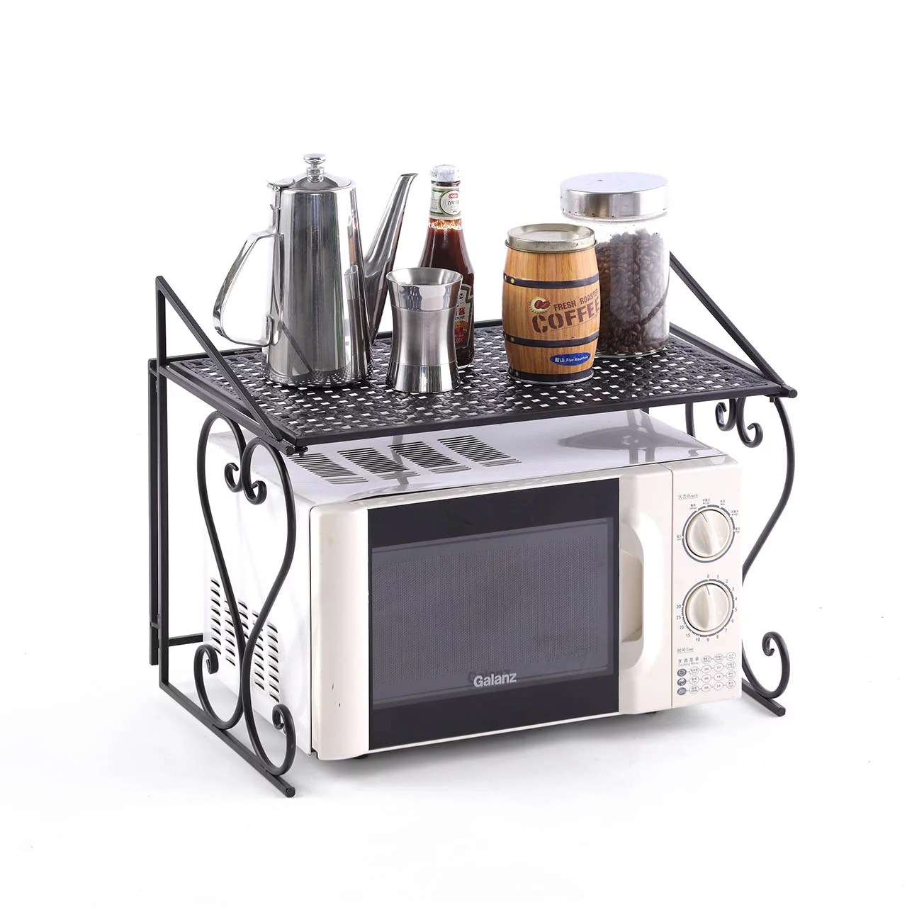 metal microwave oven rack shelf kitchen shelves counter and cabinet shelf by dazone walmart com