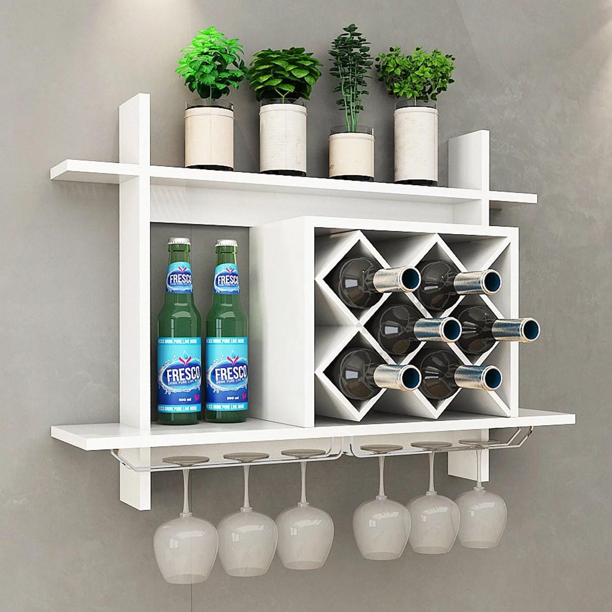 gymax wall mount wine rack w glass holder storage shelf organizer home decor white