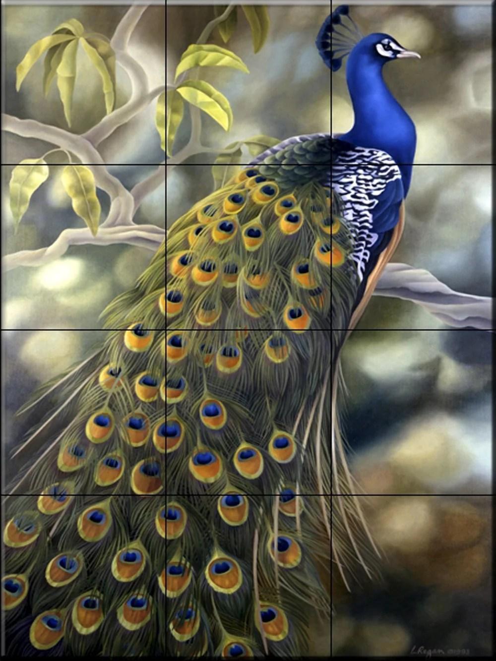ceramic tile mural peacock by laura regan kitchen backsplash bathroom shower