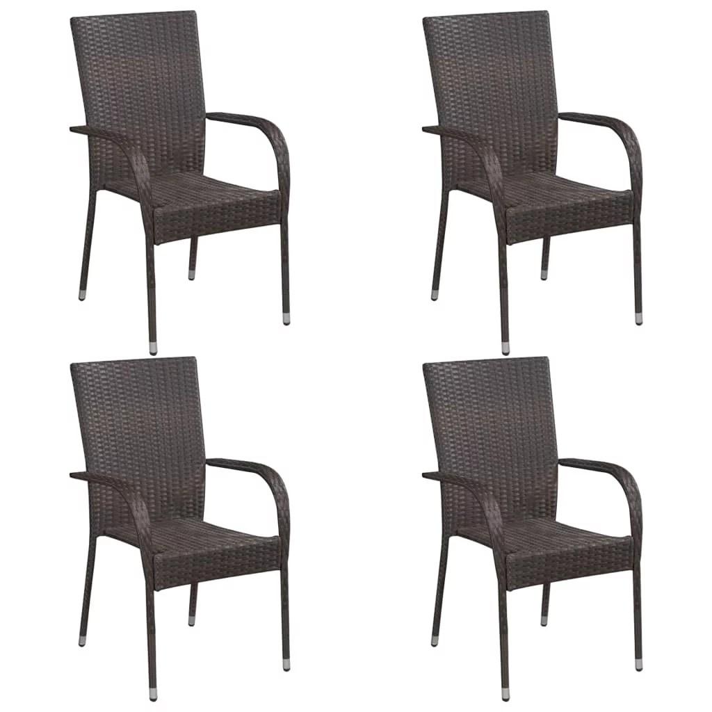 octpeak stackable outdoor chairs 4 pcs poly rattan brown