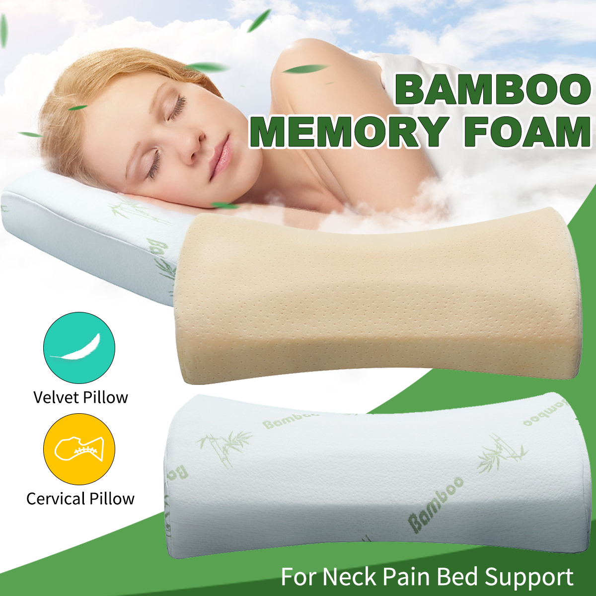 4 thick premium bamboo pillow memory foam pillow cervical pillow for neck pain bed support effectively relieve sleep snoring best gift for your