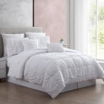 Modern Threads 7 Piece Textured Solid Comforter Set Kate White Queen Walmart Com Walmart Com