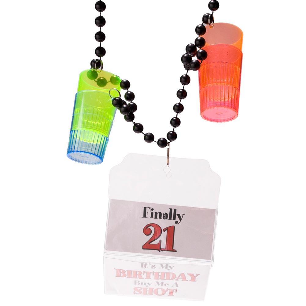 21st Birthday 1 5 Oz Shot Glass Party Beads Walmart Com Walmart Com