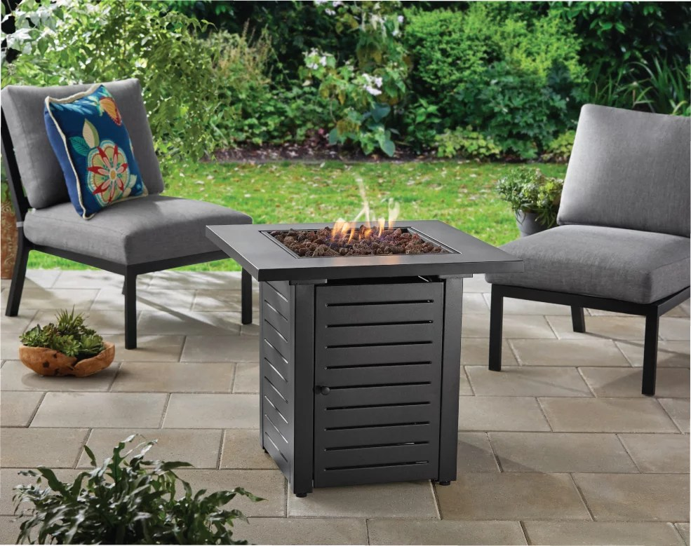 mainstays 28 metal propane gas fire pit