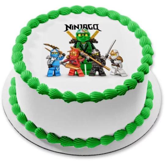 Ninjago Logo Kai Zane Cole Jay Lloyd Edible Cake Topper Image 8 In Round Abpid06254 Walmart Com Walmart Com