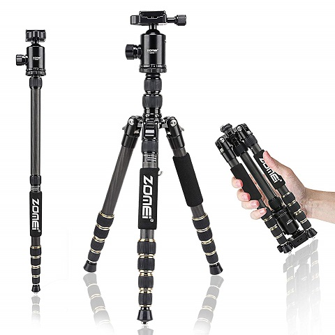ZOMEI Z699C Carbon Fiber Portable Tripod with Ball Head Compact Travel