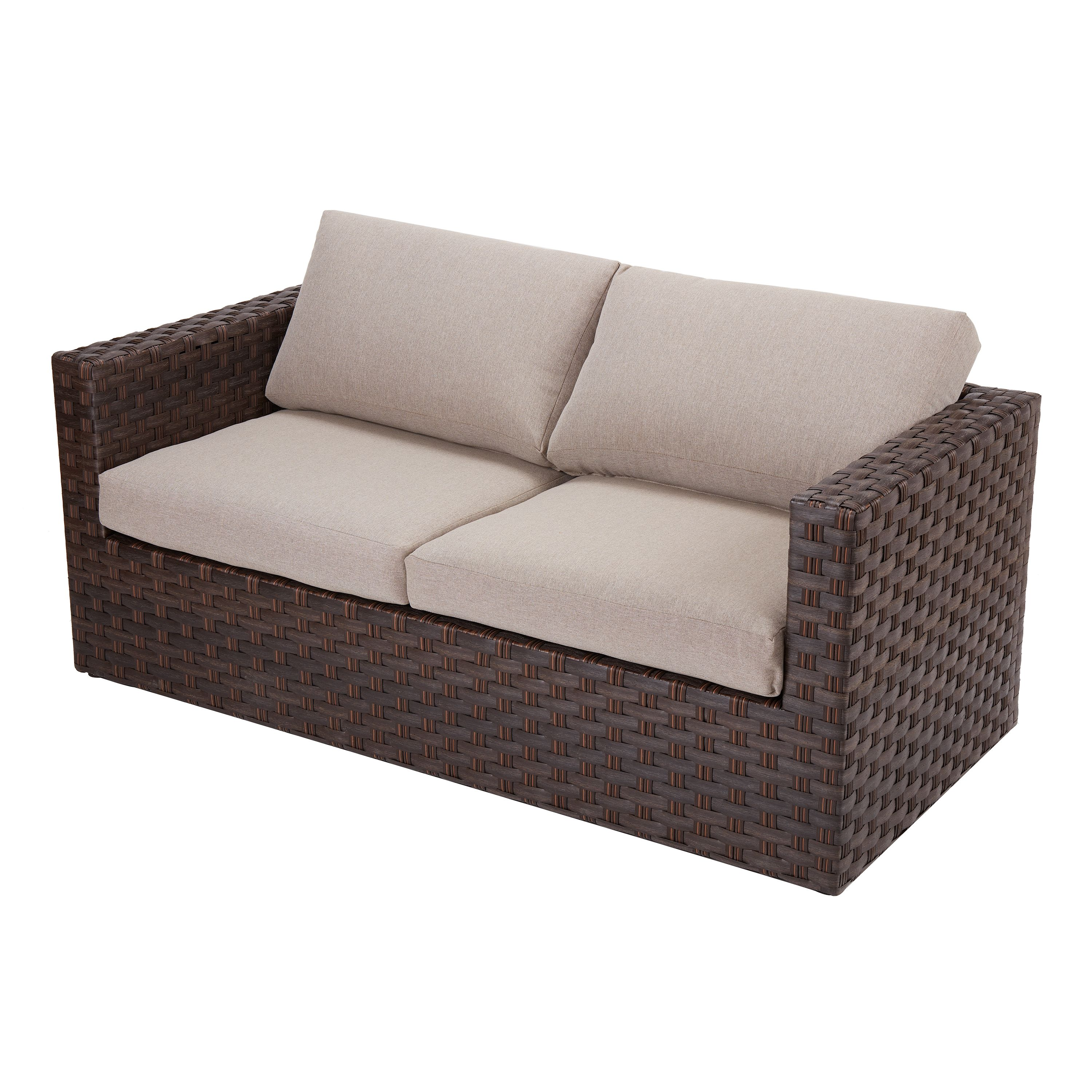 better homes gardens harbor city patio loveseat with beige cushions walmart com