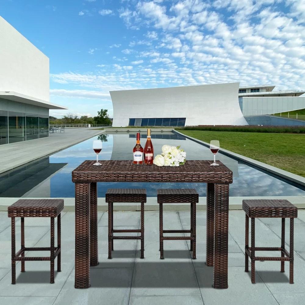 https www walmart com ip ktaxon 5 piece wicker outdoor patio bar set with table 4 stools brown 213731754