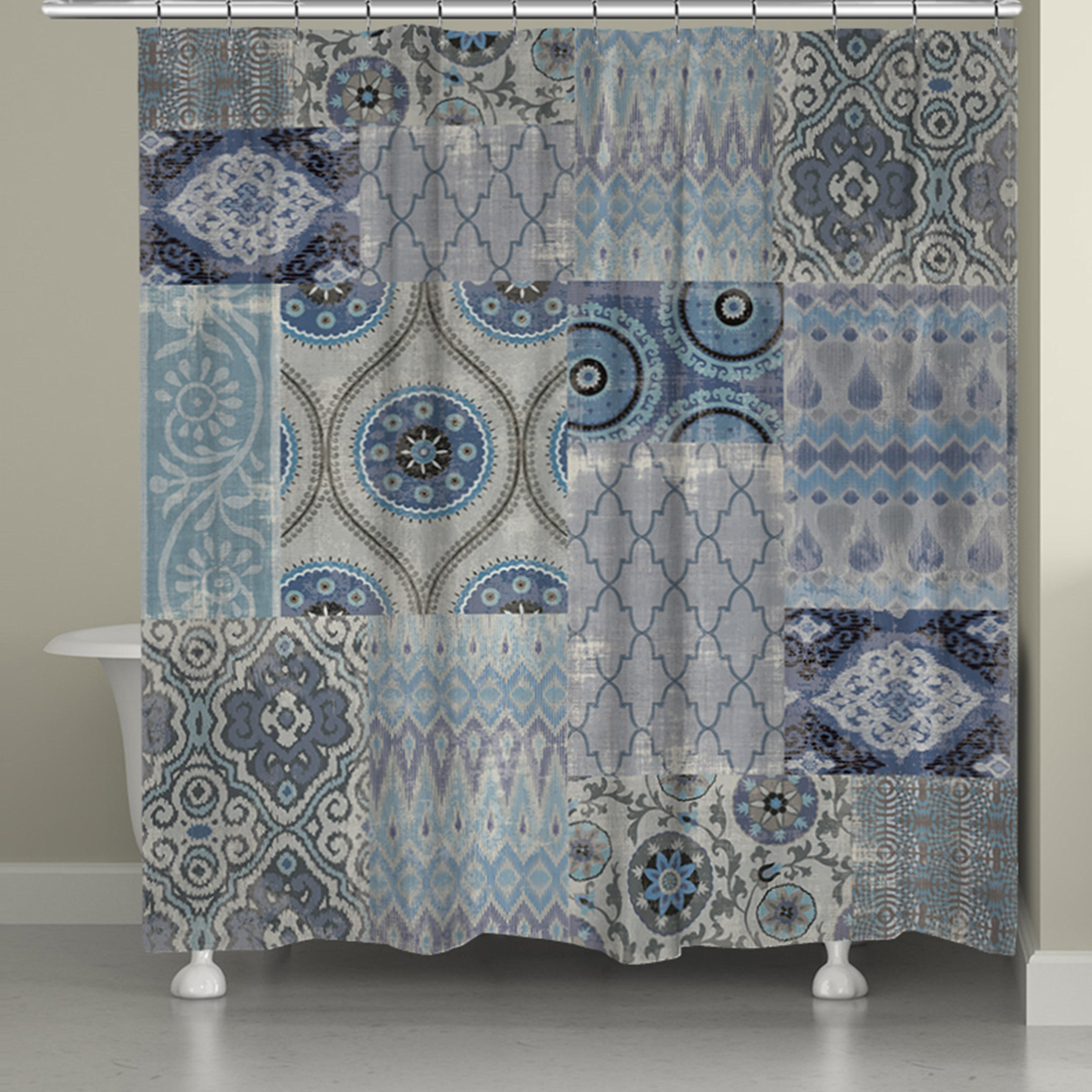 laural home blue patchwork shower curtain 71 inch x 74 inch