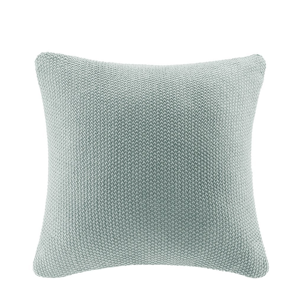 bree knit euro pillow cover aqua 26x26 this chunky knit euro pillow cover creates a casual look that can be easily mixed and matched with other