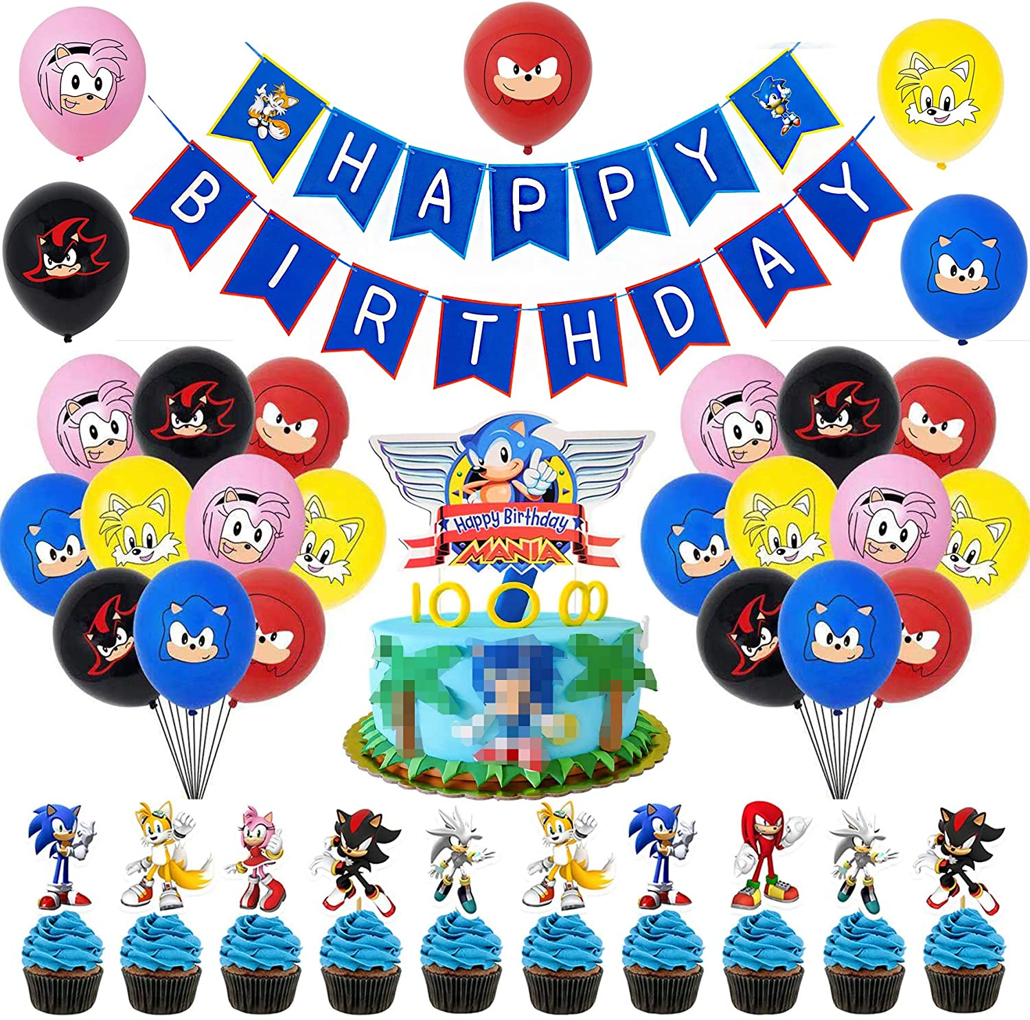 Sonic Video Game Birthday Party Supplies Decorations Pack Includes Happy Birthday Banner Latex Balloons Cake Topper Cupcake Toppers Walmart Canada