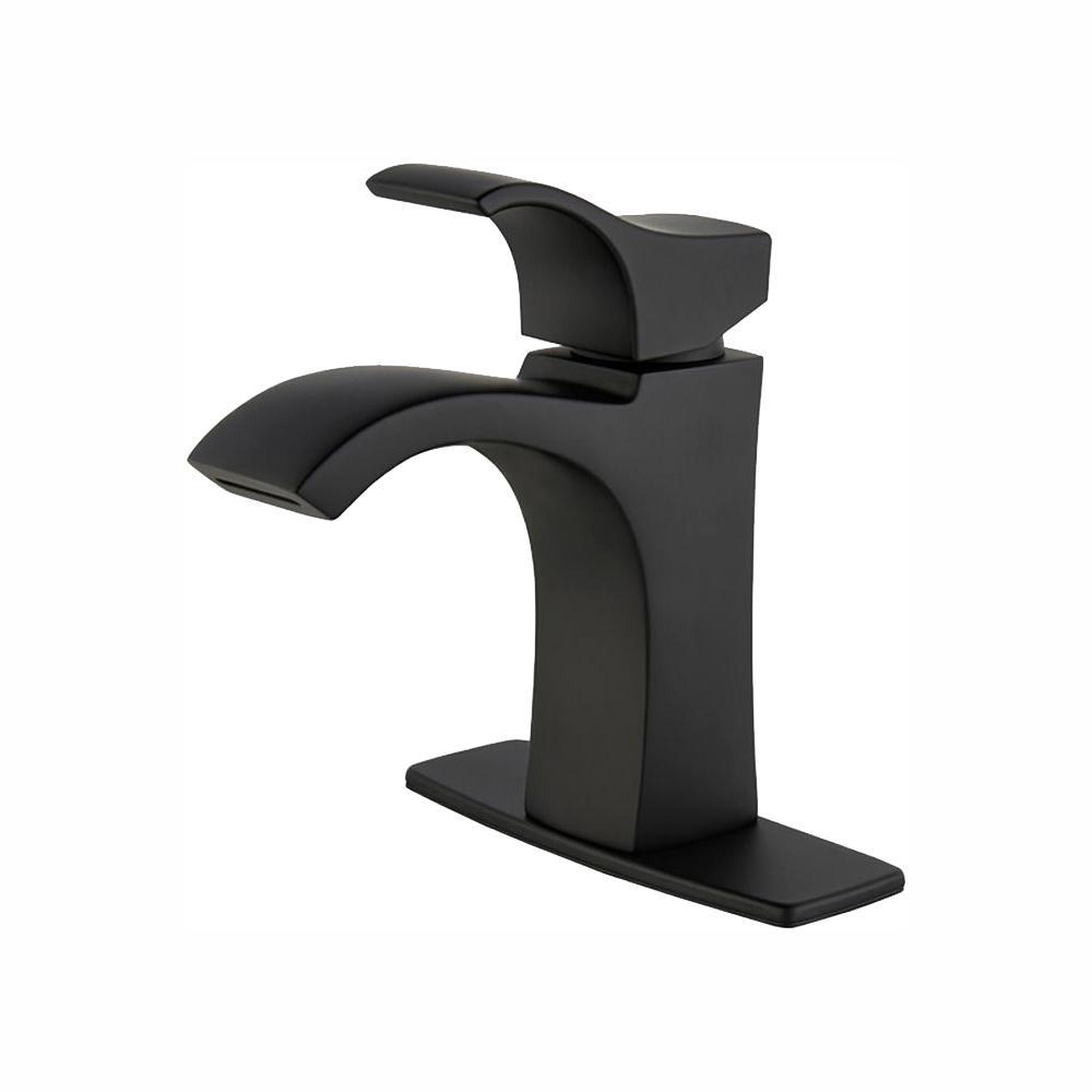 pfister venturi 4 inch ribbon spout centerset single handle bathroom faucet matte black new open box walmart com