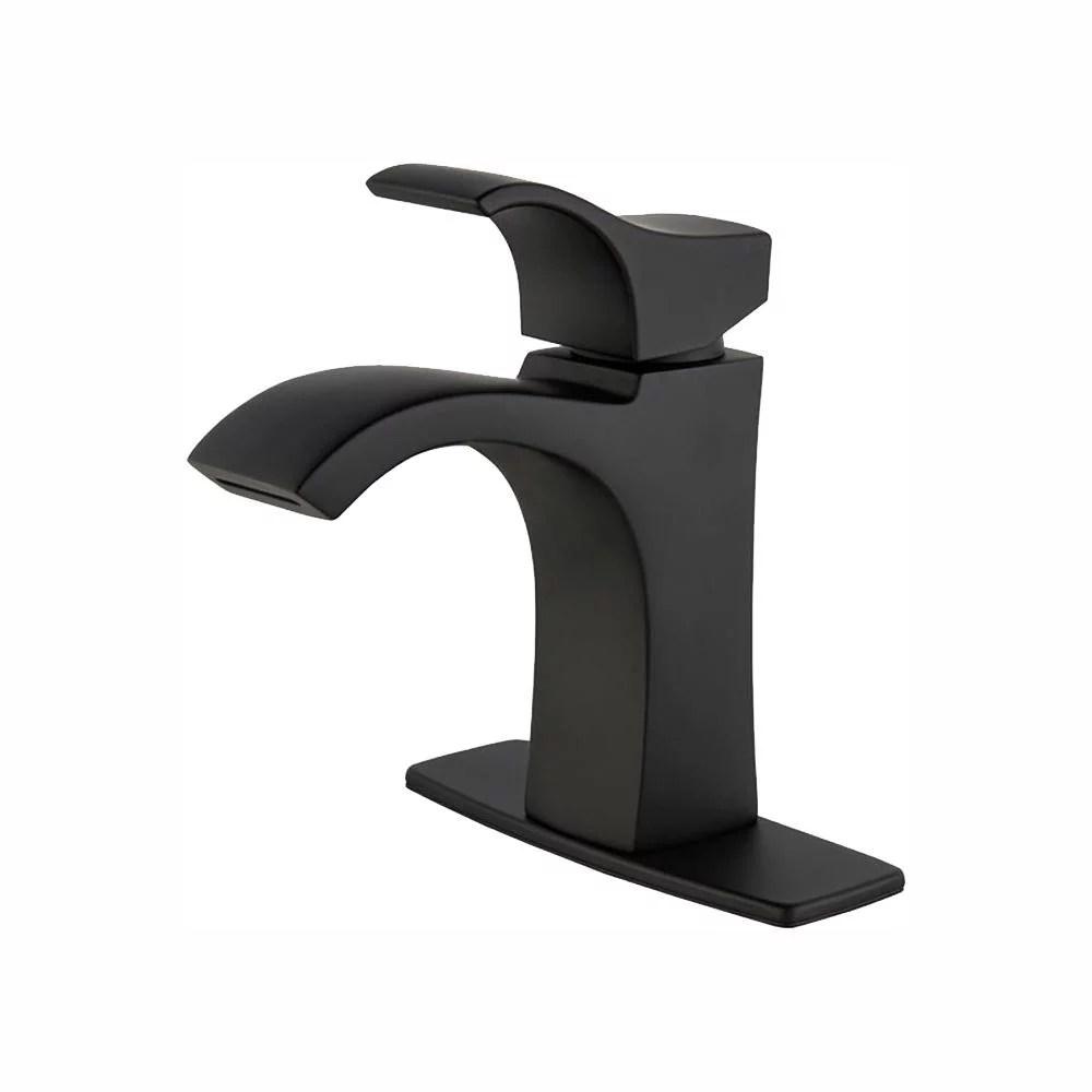 pfister venturi 4 inch ribbon spout centerset single handle bathroom faucet matte black new open box