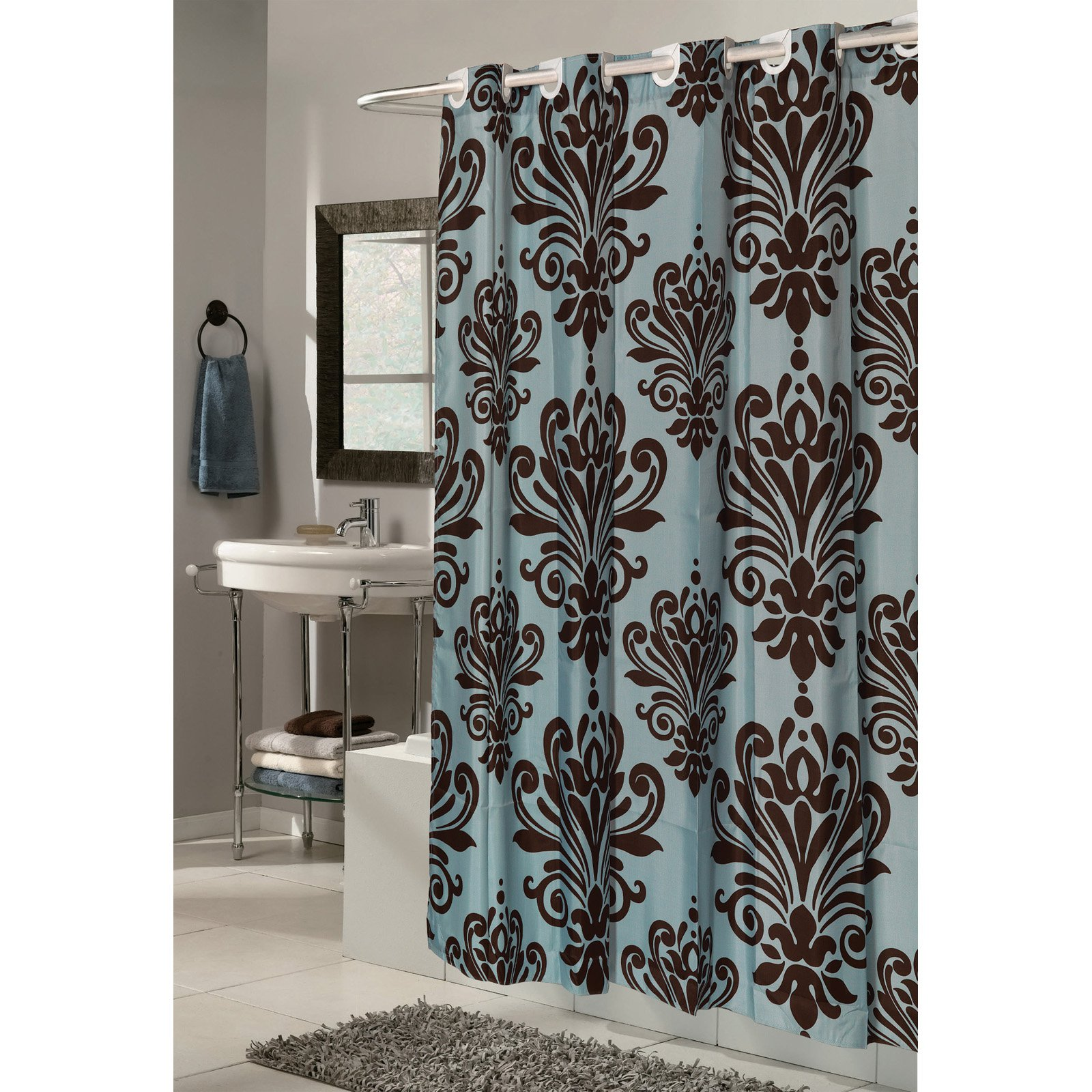 ez on beacon hill polyester shower curtain in chocolate on spa blue