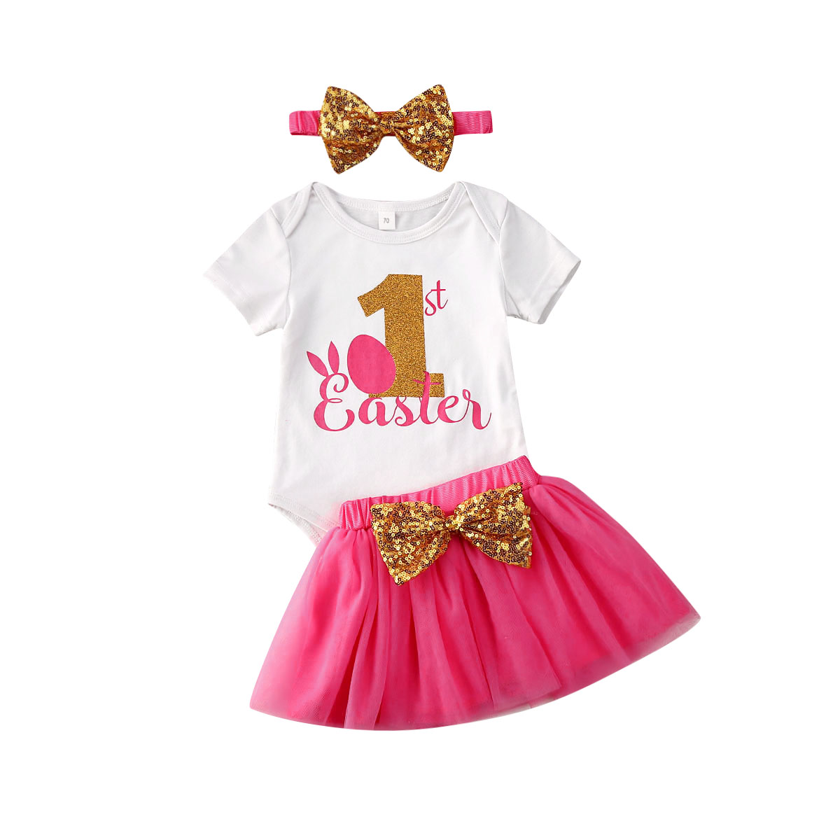 3pcs Baby Girl Clothes Easter 1st Birthday Outfit Party Clothes Romper Cake Tutu Dress Set 0 24m Walmart Com Walmart Com