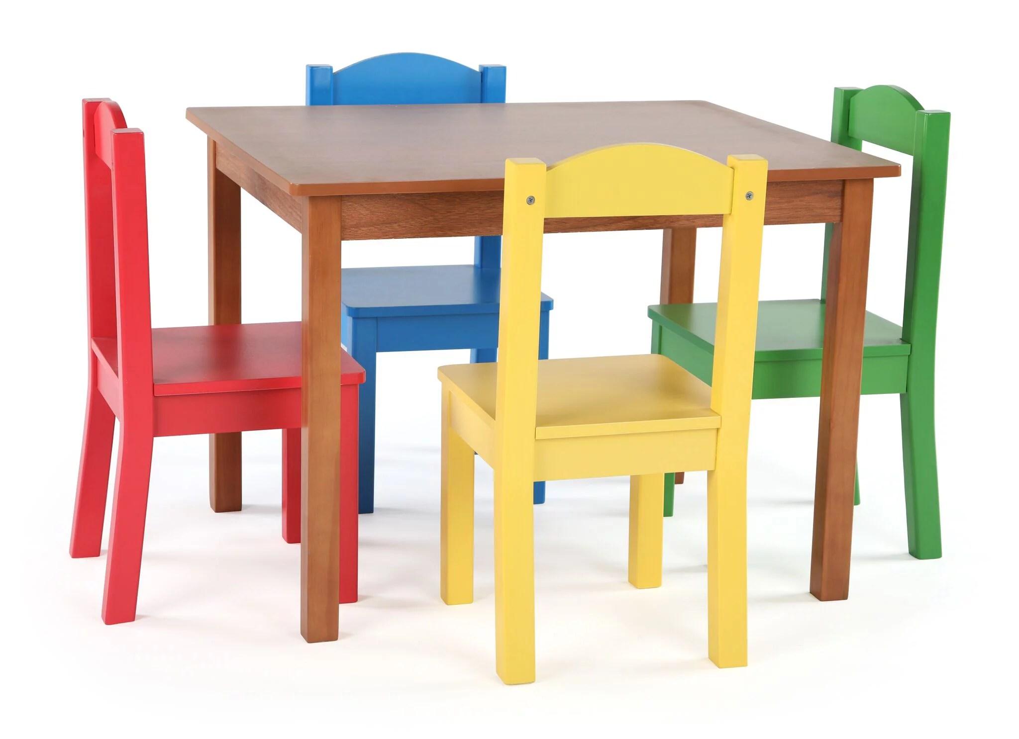 Tot Tutors Kids Wood Table And 4 Chairs Set Multiple