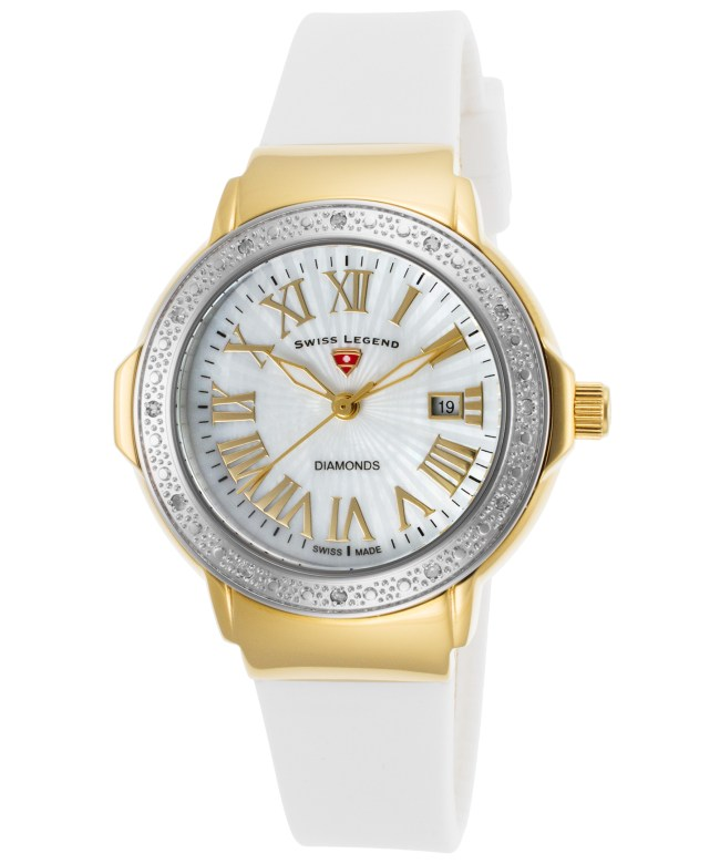 Swiss Legend 20032Dsm-Yg-02-Sb-Wht South Beach Diamonds White Silicone And Mop Dial Gold-Tone Ss Case Watch