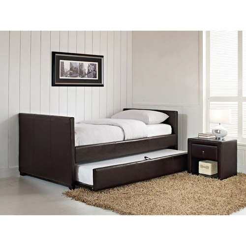 Stratus Twin Faux Leather Day Bed Brown Box 1 Of 2