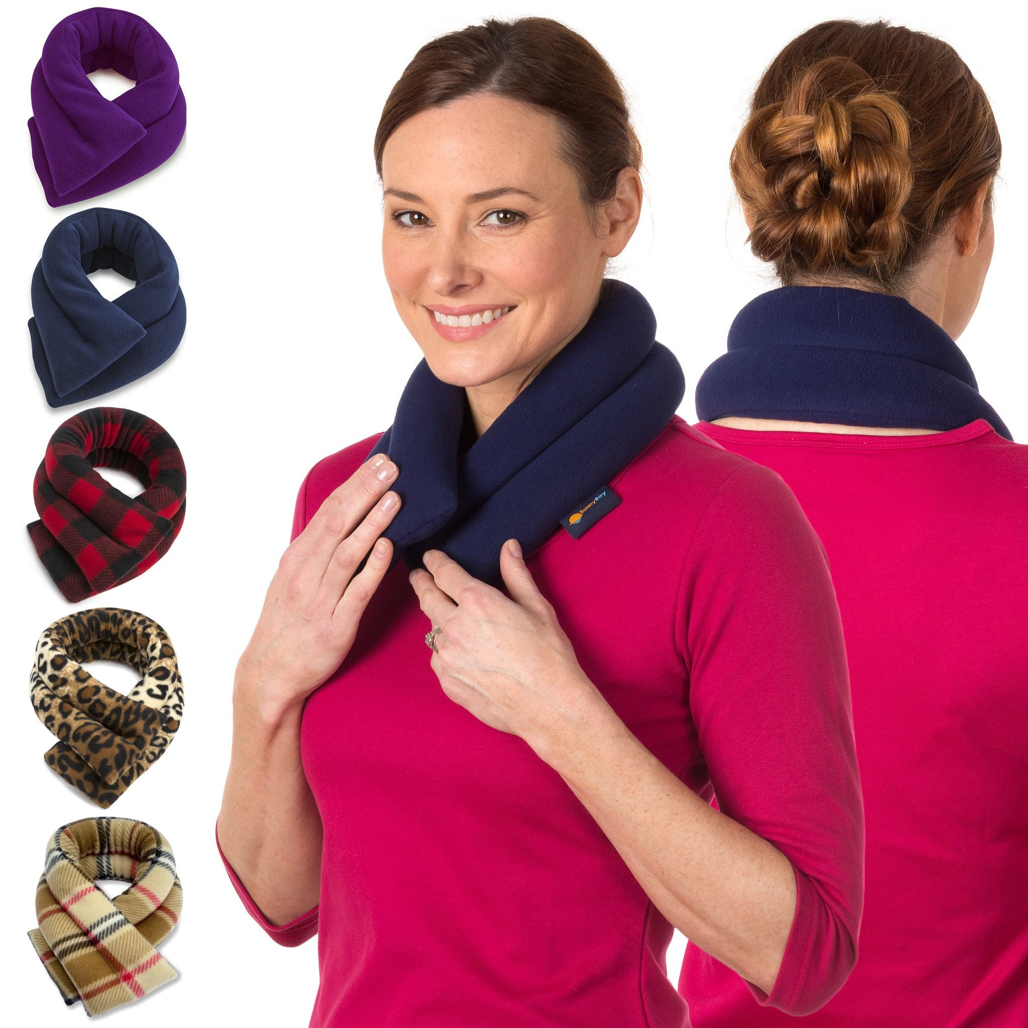 sunnybay extra long neck heating wrap microwavable heat pad heated neck wrap best for neck pain relief midnight blue