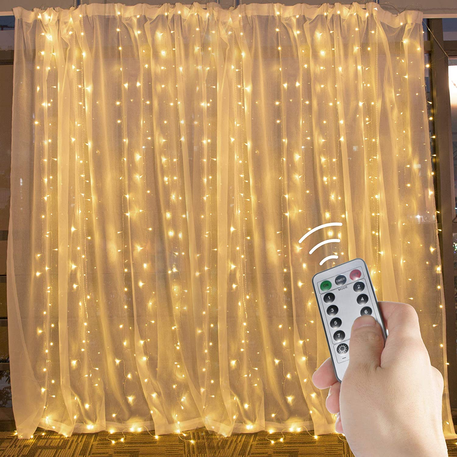 brightown hanging window curtain lights 9 8 ft dimmable connectable with 300 led remote 8 lighting modes timer for bedroom wall party indoor