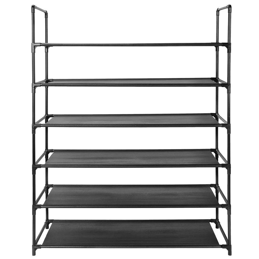 6 tier shoe rack 30 pair shoes storage organizer stackable entryway shoes shelf black