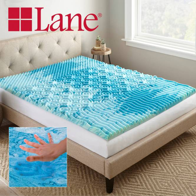 Lane 2 Cooling Gellux Memory Foam Gel Mattress Topper Multiple Sizes