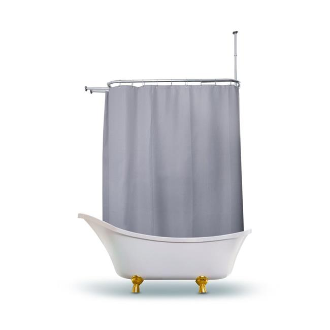 utopia alley bl3gy waffle weave clawfoot tub shower curtain 180 x 70 in wrap around gray