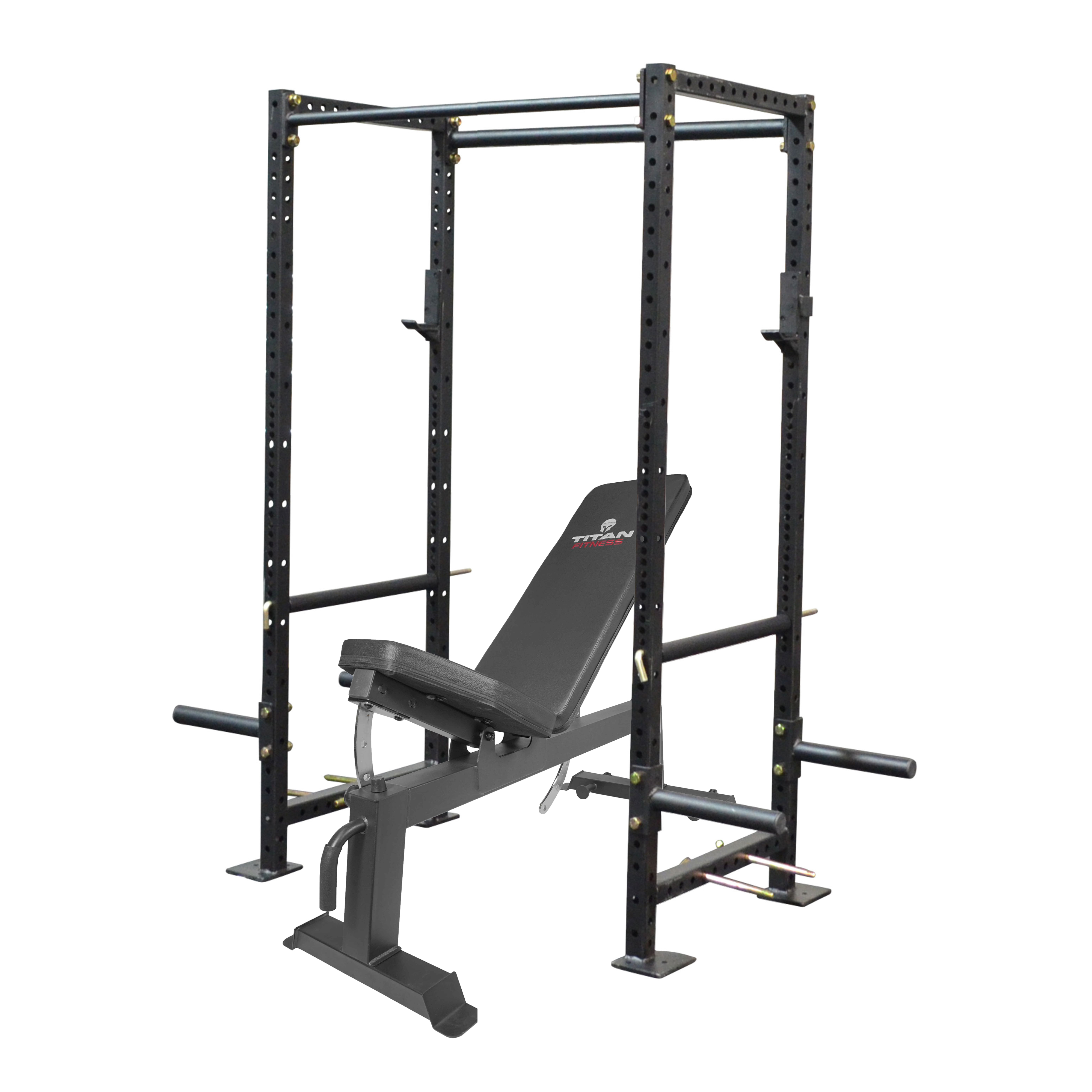 titan fitness x 2 3 000 lb capacity short power rack with adjustable incline bench combo