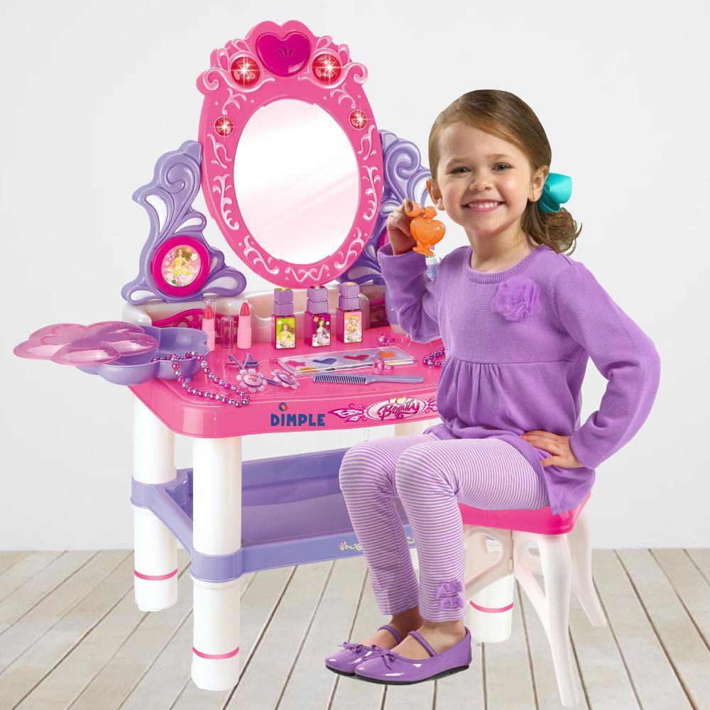 princess themed vanity girls set with 16 fashion makeup accessories flashing lights by dimple walmart com