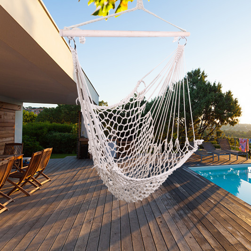 ktaxon outdoor hanging swing cotton hammock chair solid rope for yard patio porch garden