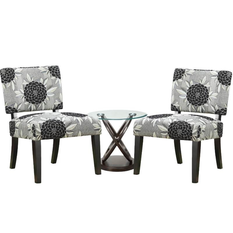 3 piece living room set with set of 2 accent chairs and end table