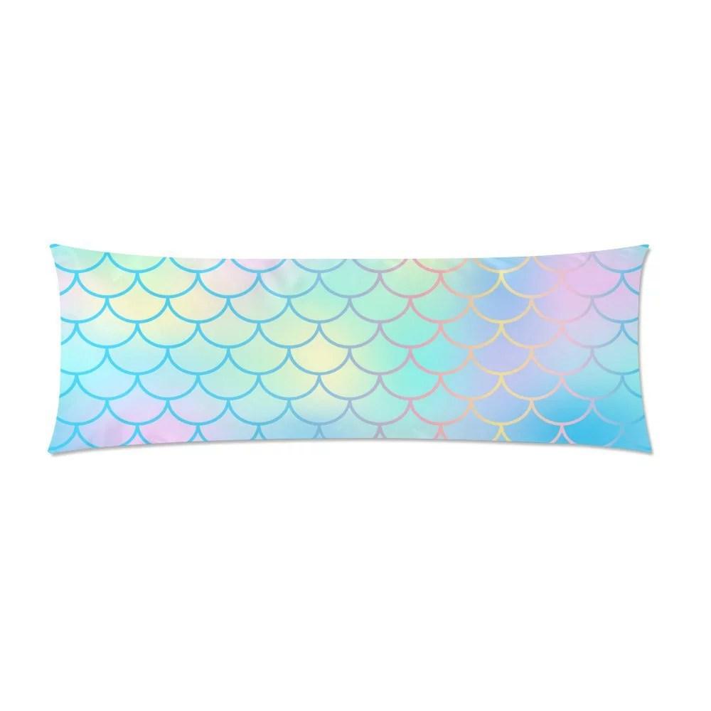 mkhert mermaid skin surface body pillowcase pillow protector cushion cover 20x60 inch