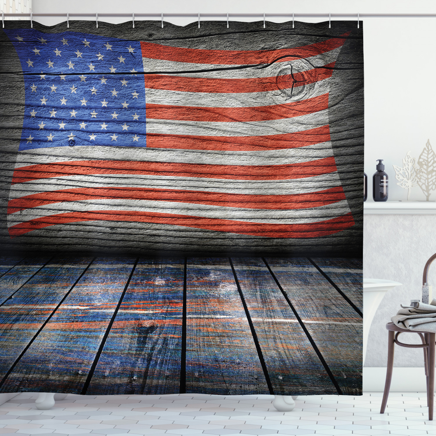 rustic decor american usa flag shower curtain set fourth of july independence day wooden looking floor log view wall rippled image bathroom