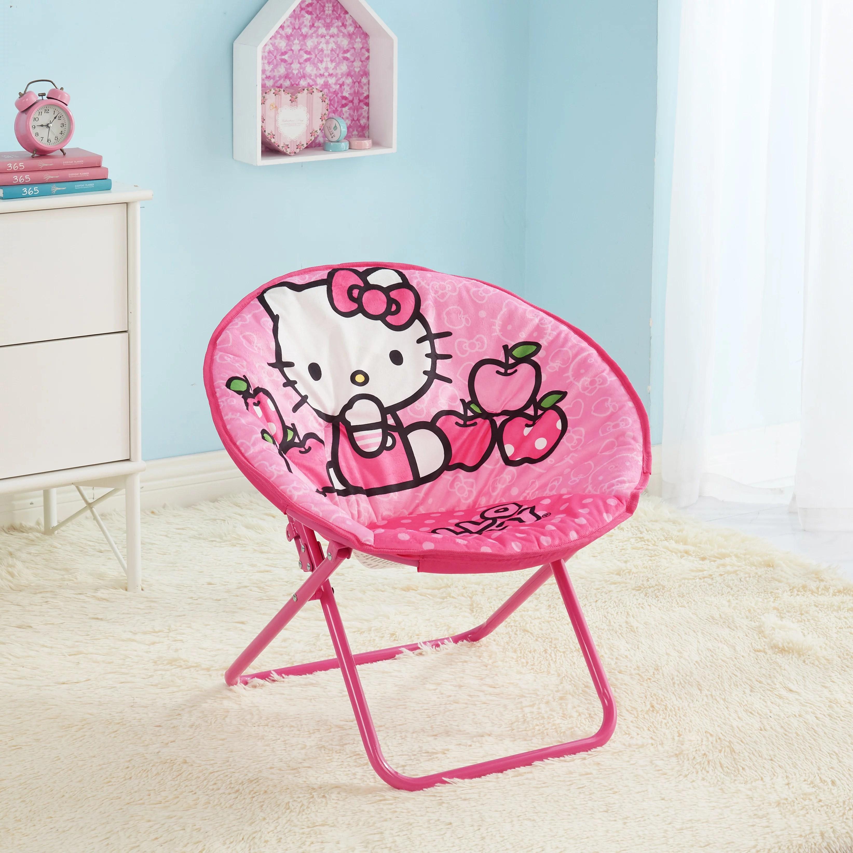 Hello Kitty 23 Inch Kids Pink Folding Saucer Chair Walmart Com Walmart Com