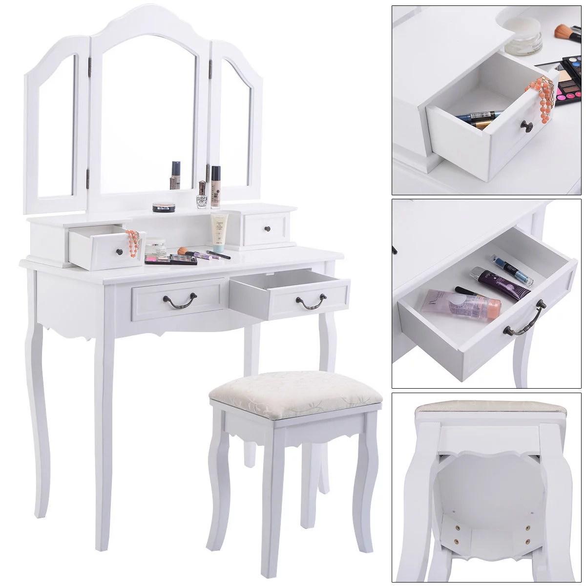 goplus tri folding mirror white wood vanity set makeup bathroom table dresser 4 drawers stool walmart com