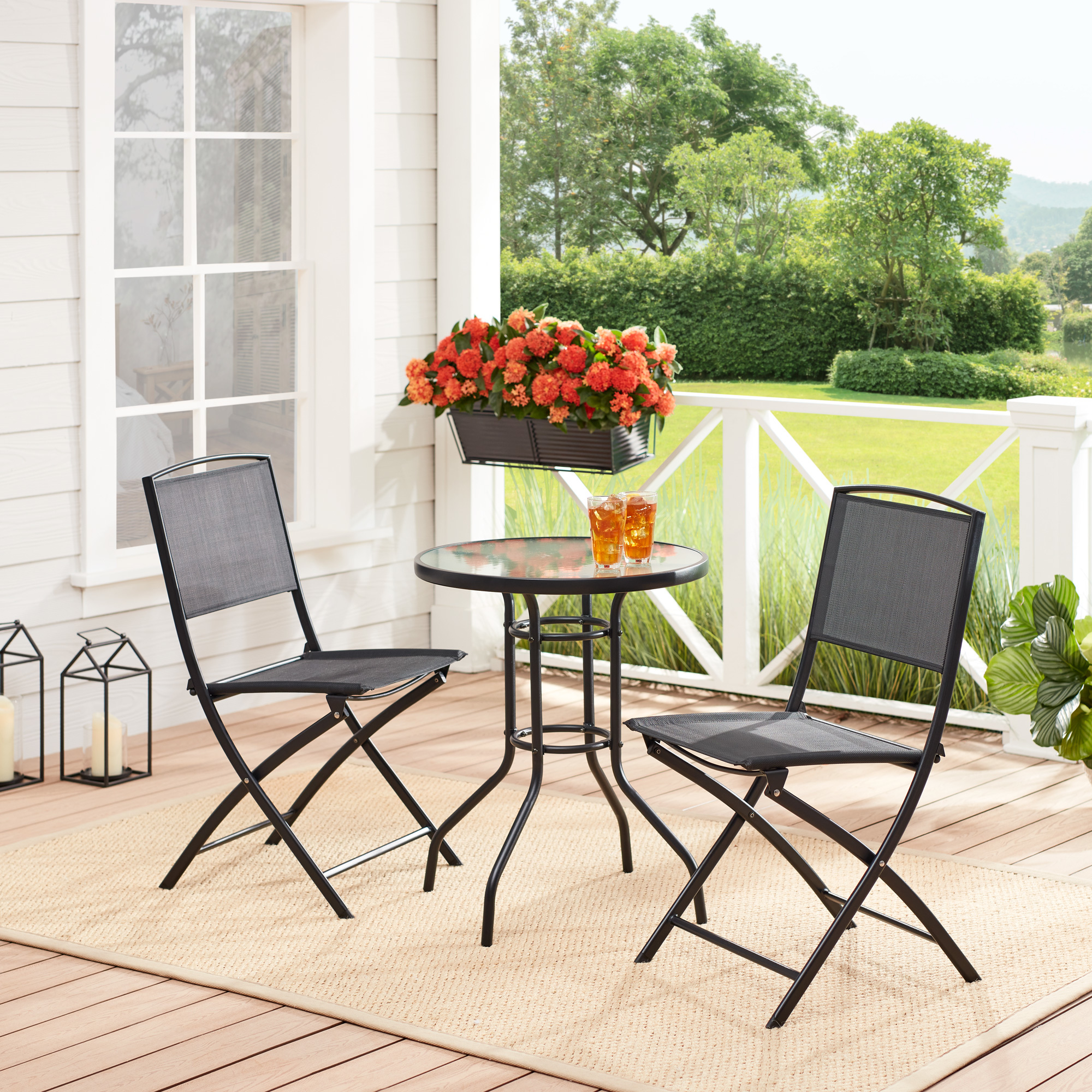 mainstays albany lane 3 piece outdoor patio bistro set multiple colors